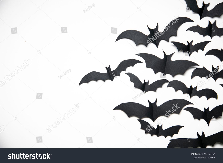 Halloween Paper Bat Decorations On White Stock Photo Edit Now