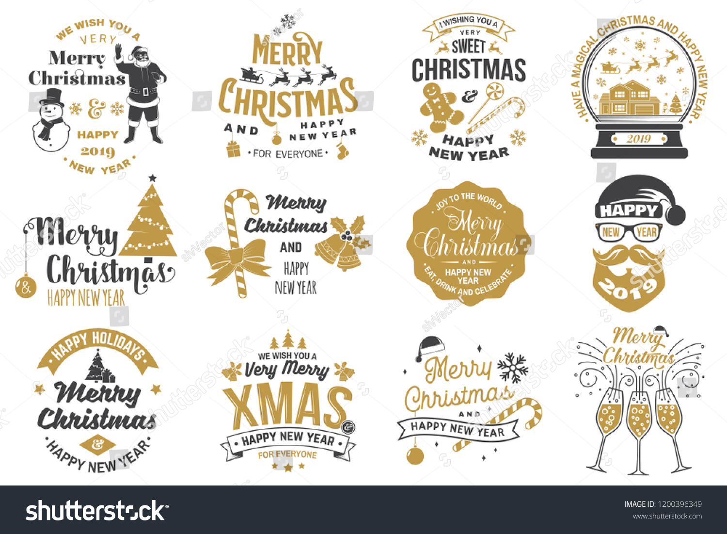 Set of Merry Christmas and 2019 Happy New Year stamp, sticker Set quotes with snowflakes, snowman, santa claus, candy, sweet candy, cookies. Vector. Vintage typography design for xmas, new year emblem #1200396349