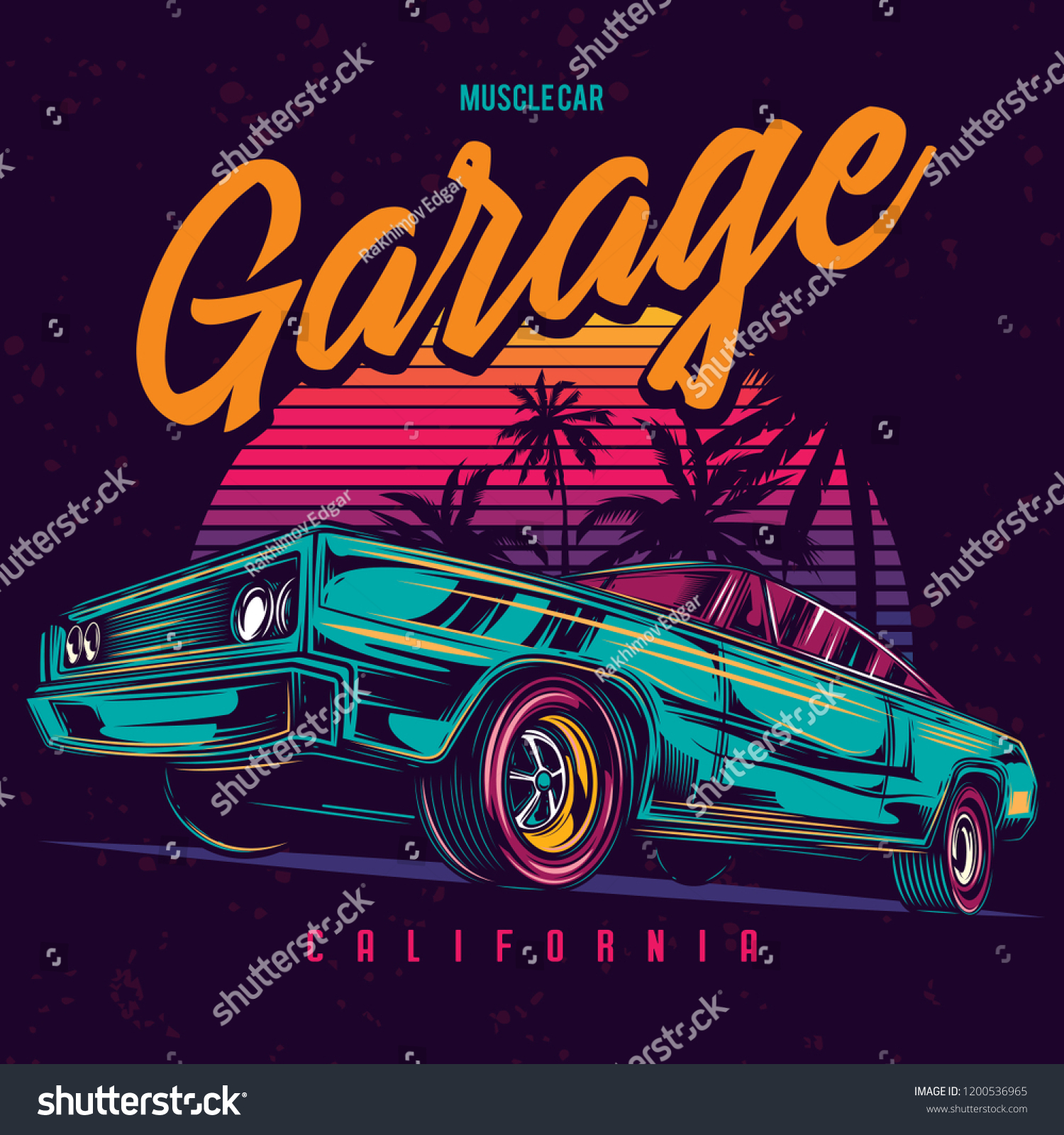 Original vector illustration of an American muscle car in retro neon style.