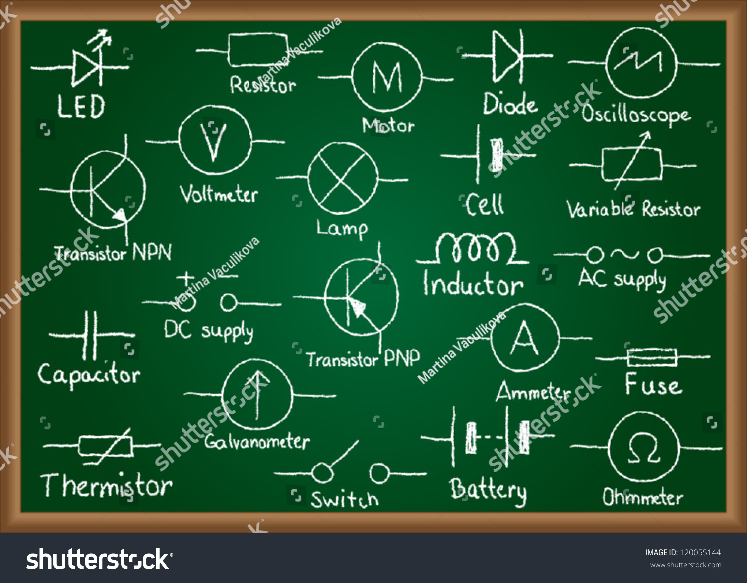 Illustration Electrical Circuit Symbols Drawn On Stock Vector Drawings Of Chalkboard