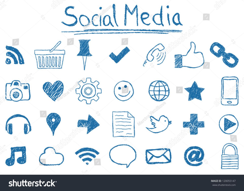 Illustration social media icons handdrawn stylesocial for Drawing websites