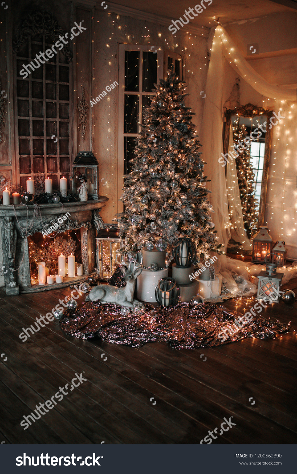 Warm cozy evening christmas room interior stock photo edit now