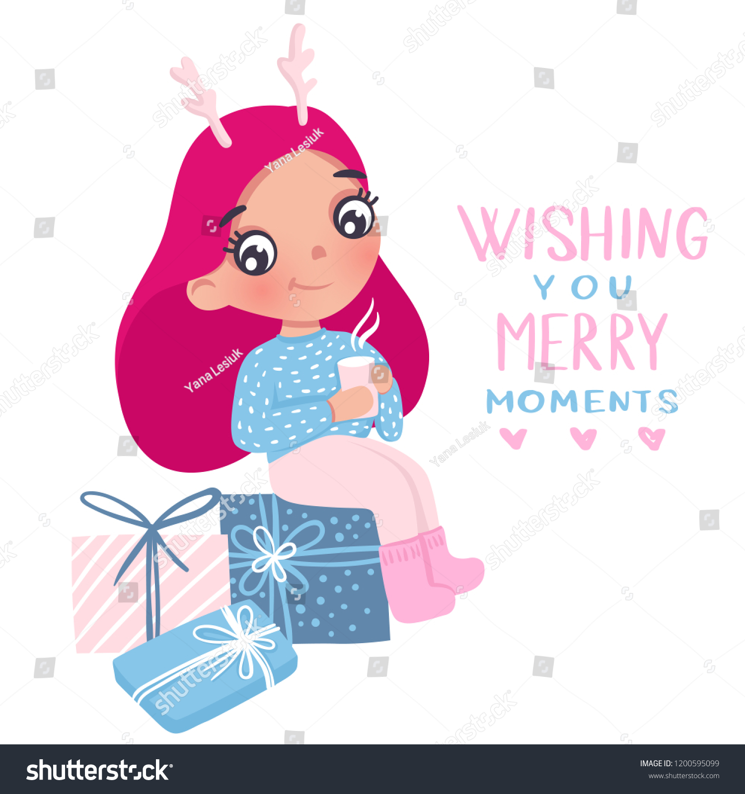 merry christmas and happy new year 2019 vector card cute little girl cartoon kids