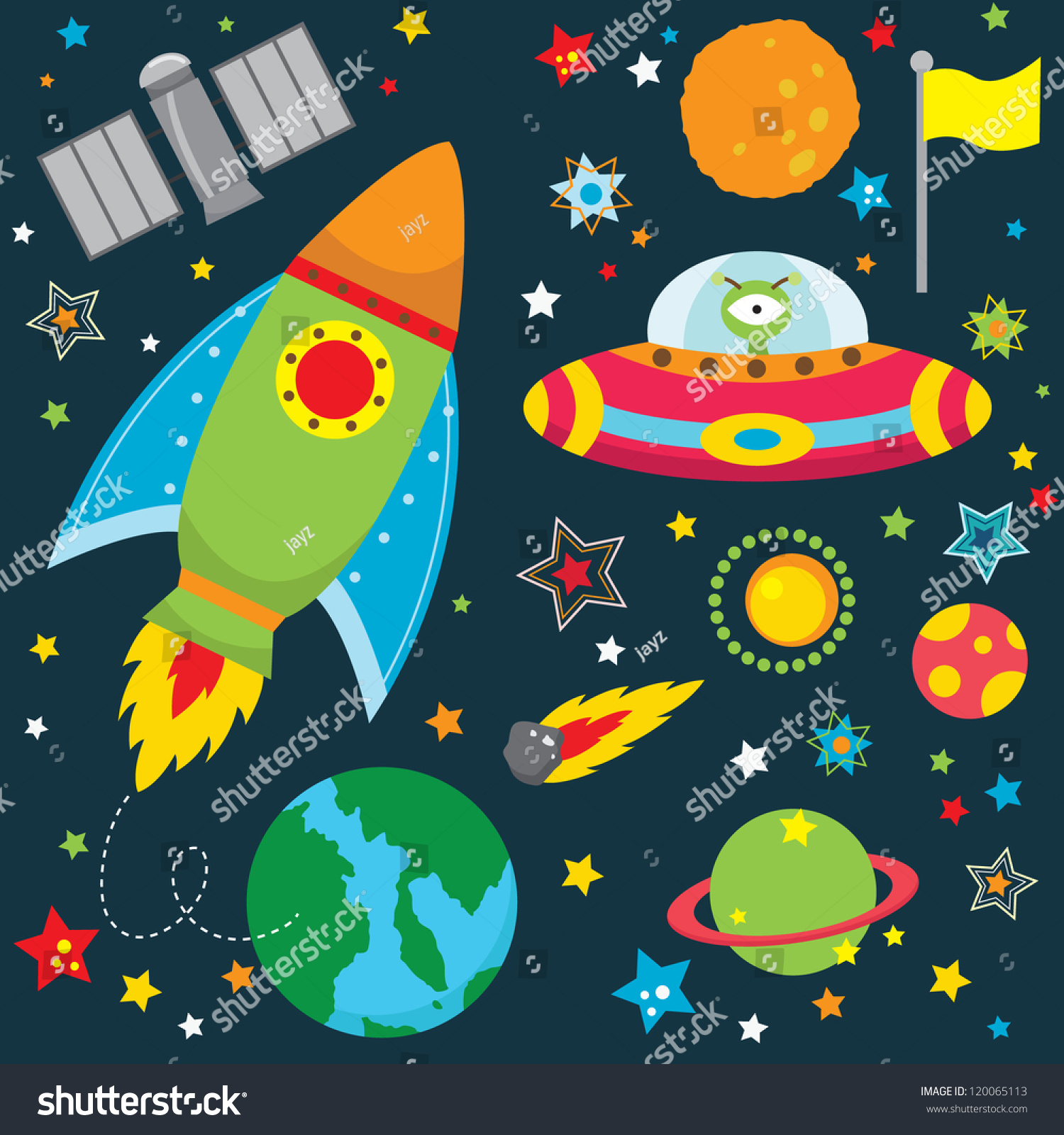 Outer space design elements stock vector illustration for Outer space stage design