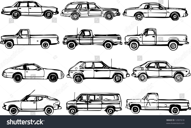 Detailed Car Drawings Stock Vector 12007618 - Shutterstock