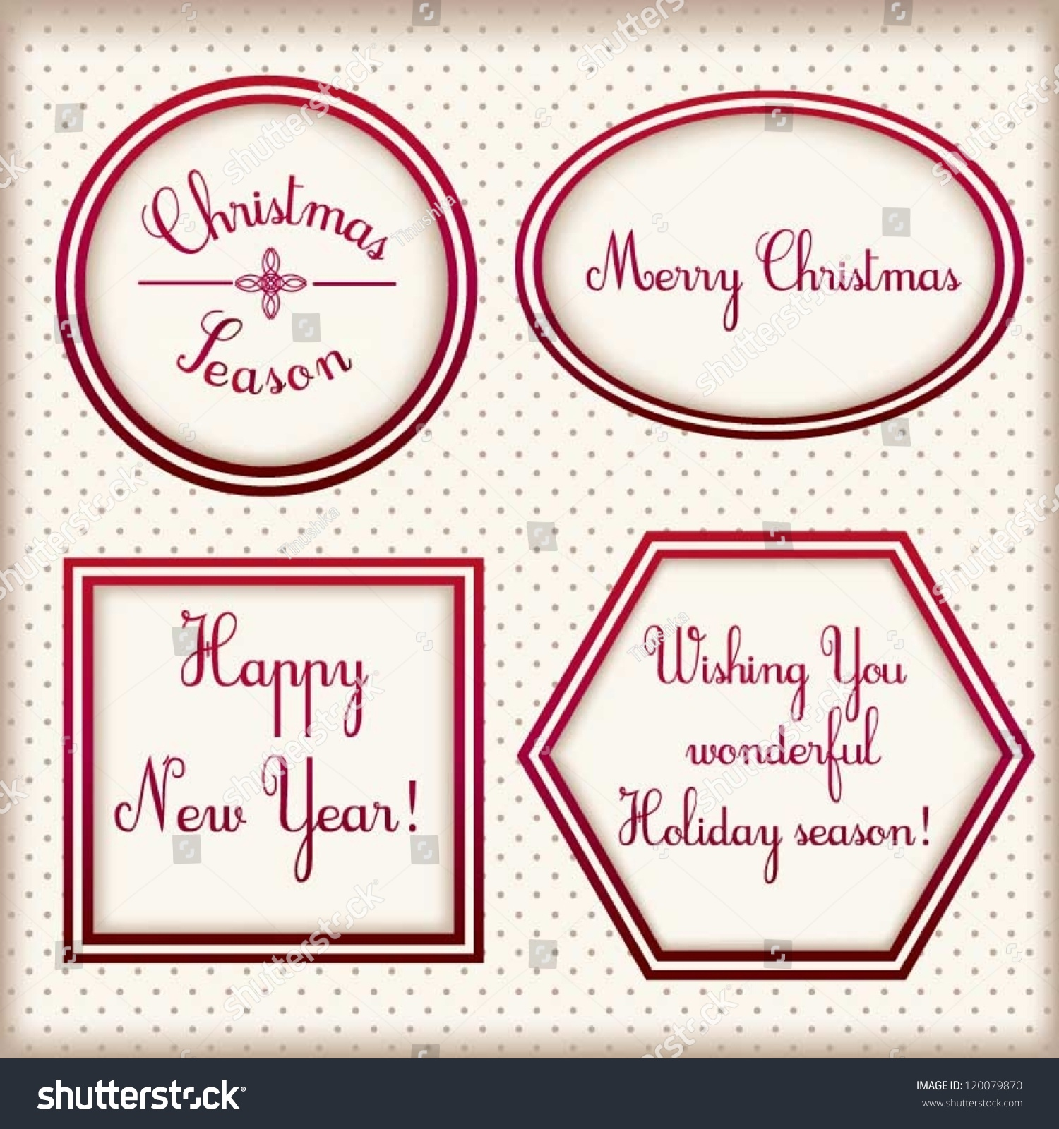 christmas and new year vintage elegant stylized beige labels with red satin border vector set