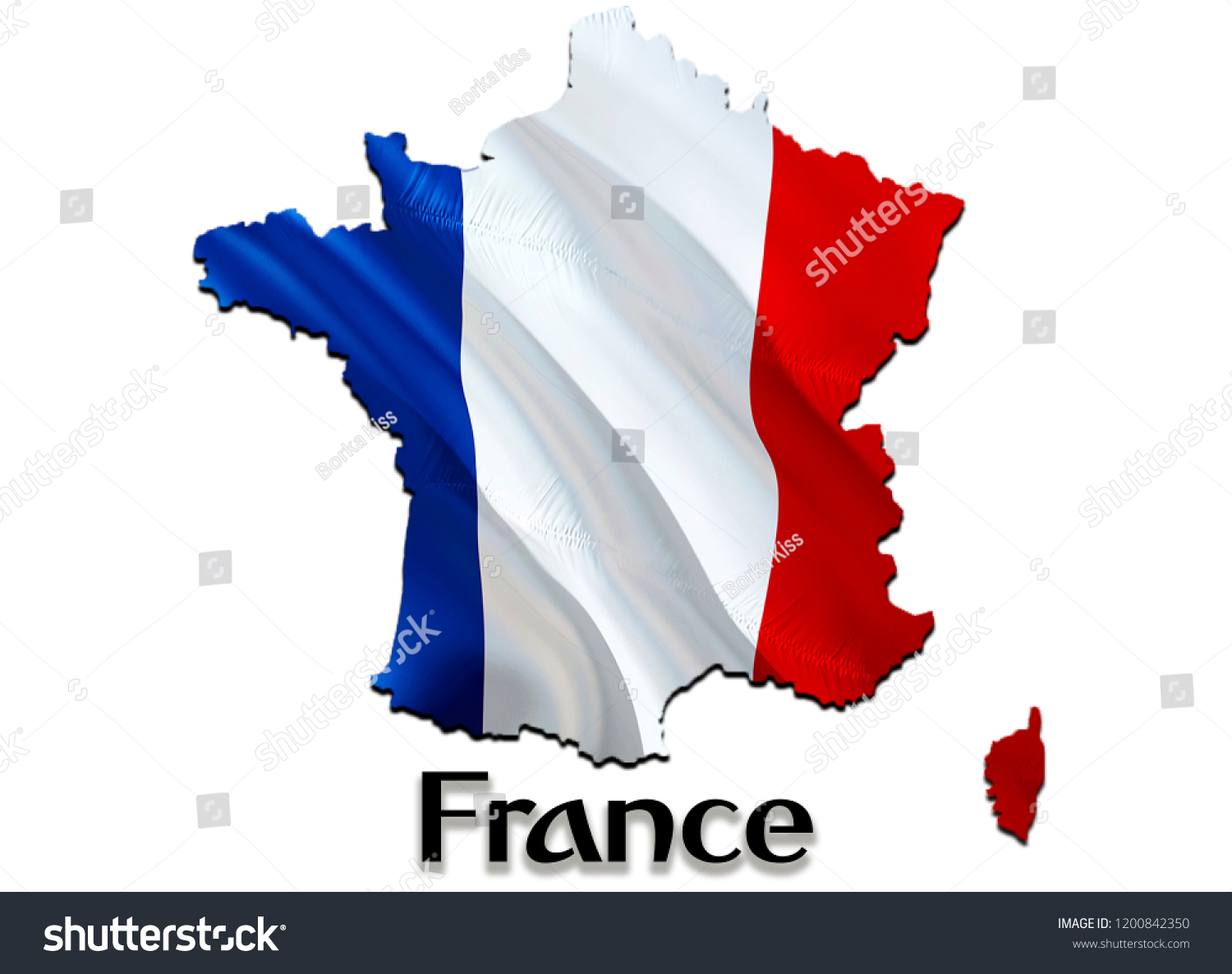 Map Of France Kisses.Flag Map France 3d Rendering France Stock Illustration 1200842350