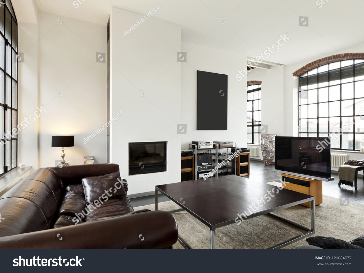 Beautiful house interior view living room stock photo for Beautiful house room