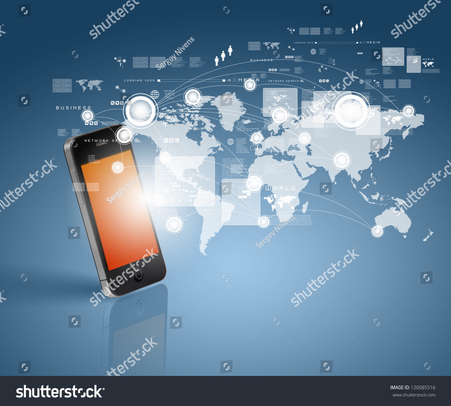 Modern Communication Technology Illustration With Mobile ...