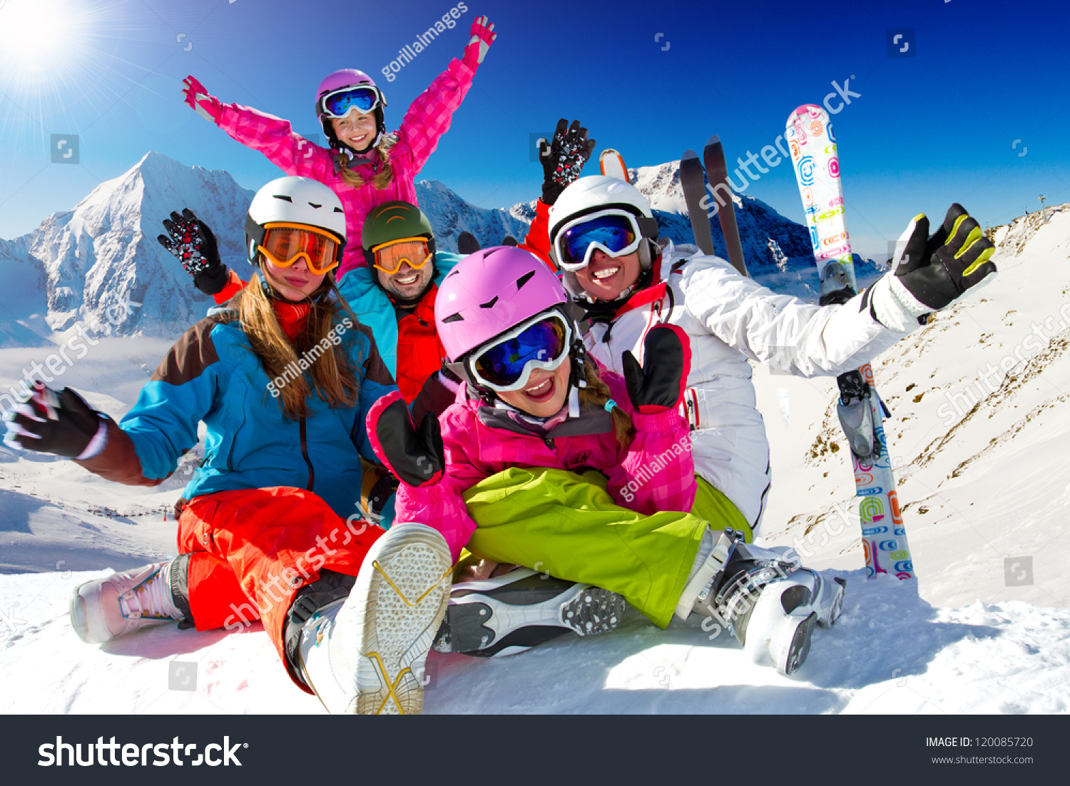 Skiing winter snow sun fun family stock photo 120085720 for Vacation in the snow