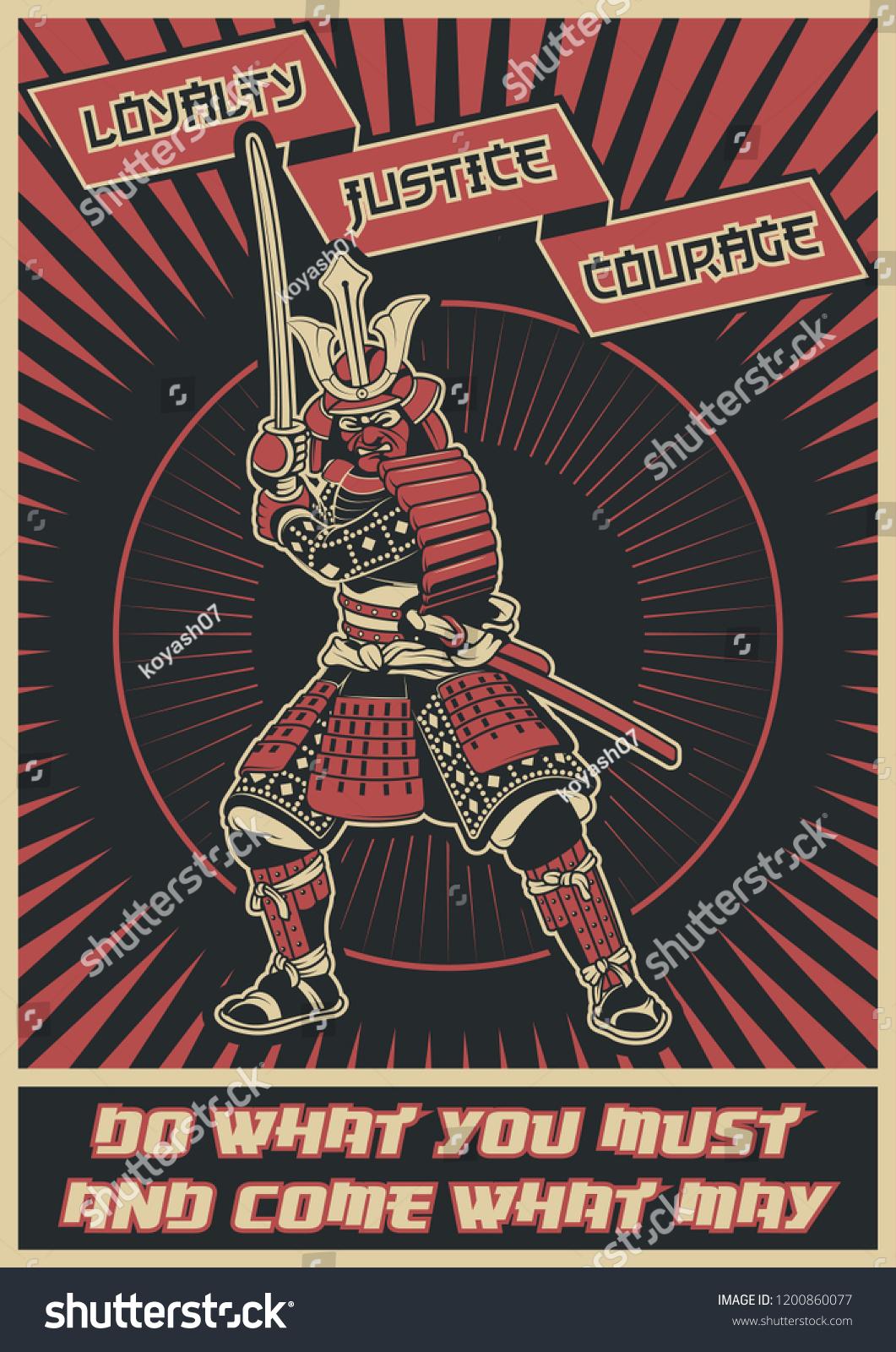 Ancient Japanese Samurai Poster Bushido Code Stock Vector Royalty