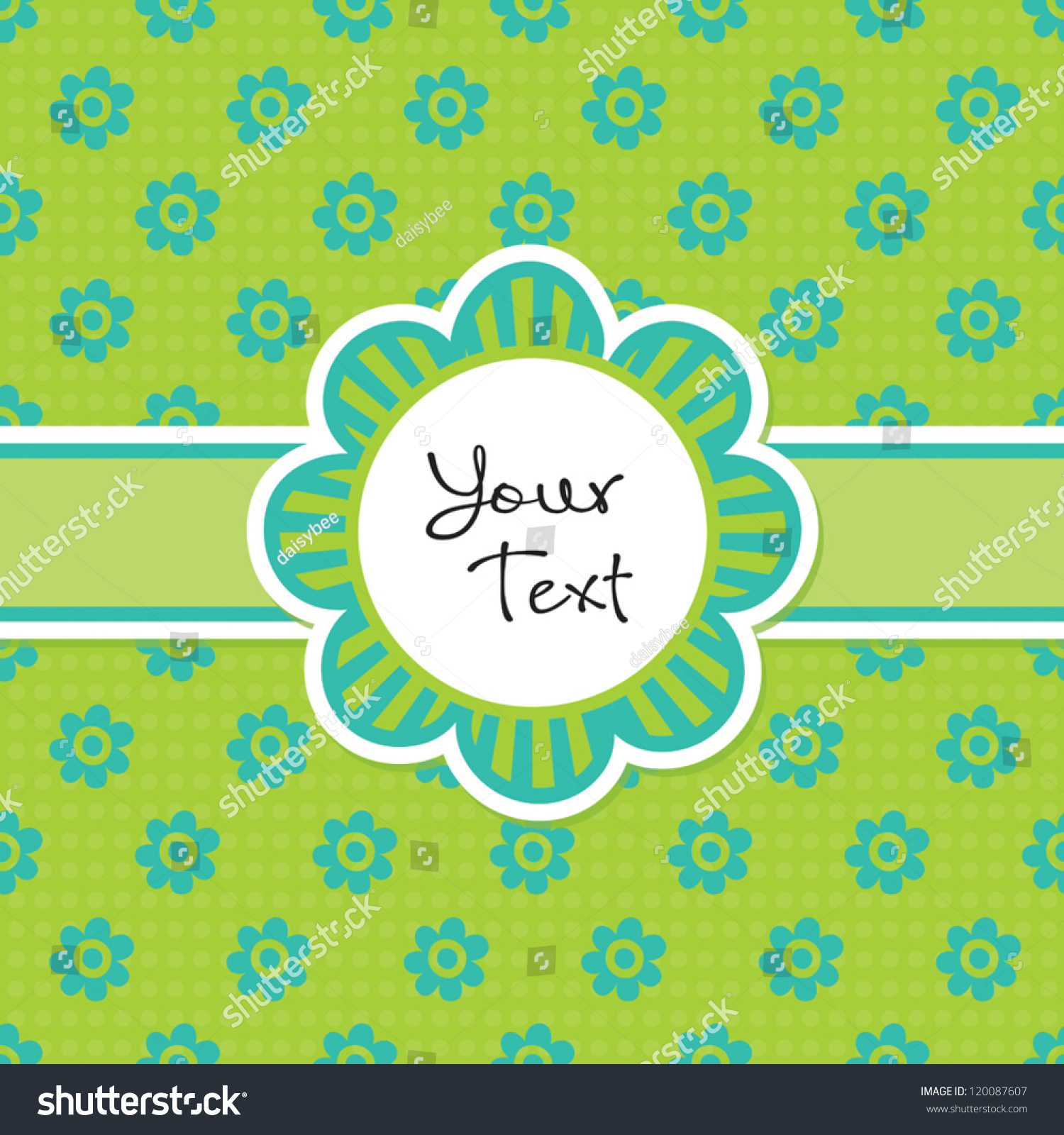 Vector Greeting Card Template Cute Daisy Stock Vector Royalty Free