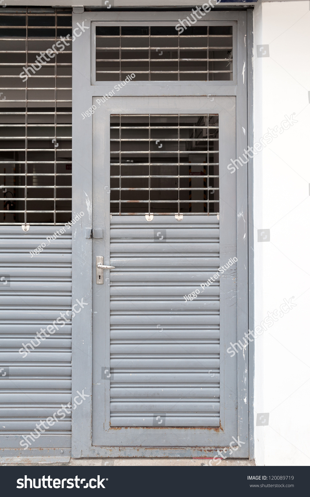 old metal swing door with half ventilation void & Old Metal Swing Door Half Ventilation Stock Photo (Royalty Free ...