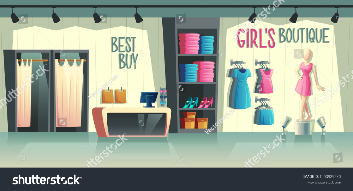 6b867d392 Vector girls boutique. Female clothing shop interior - wardrobe with clothes,  cartoon mannequin in