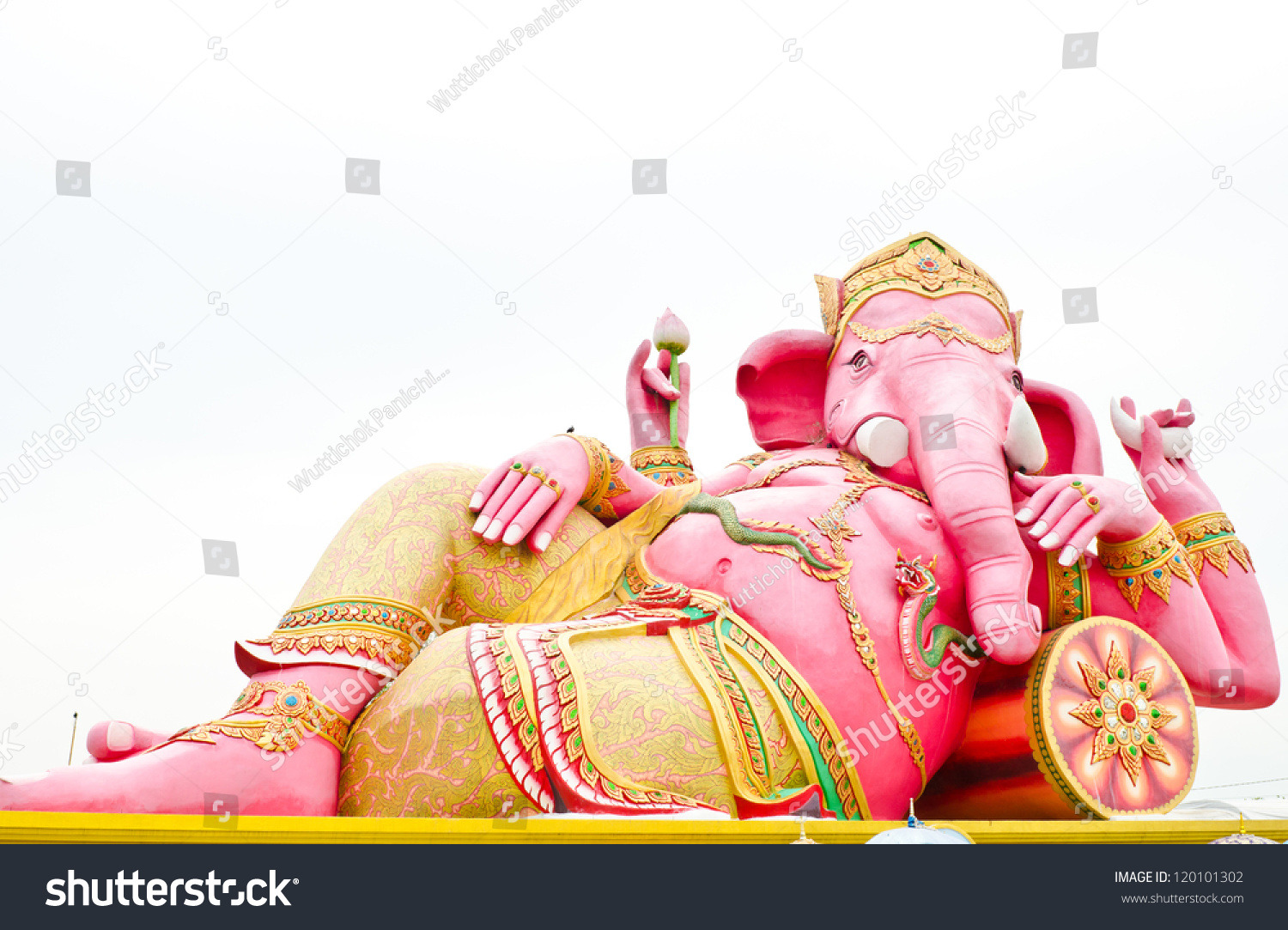 Chachoengsao Thailand  City new picture : Pink Ganesha Statue Wat Samarn, Chachoengsao, Thailand Stock Photo ...
