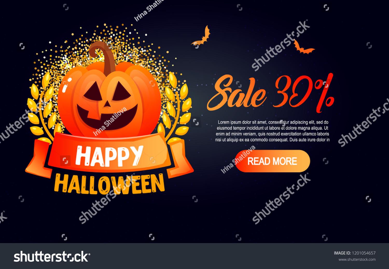 halloween template banner happy halloween message stock vector