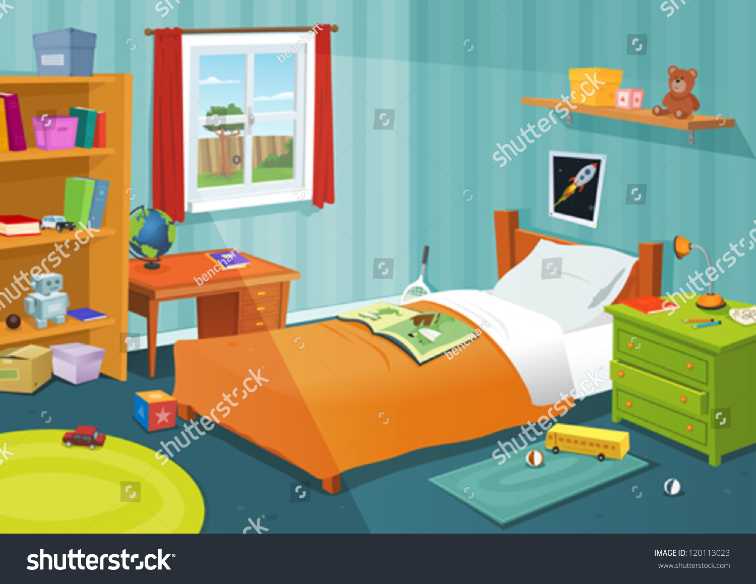 Some Kid Bedroom  Illustration of a cartoon children bedroom with boy or  girl lifestyle elements. Some Kid Bedroom Illustration Cartoon Children Stock Vector