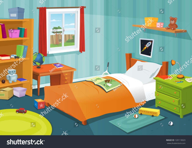 Some Kid Bedroom Illustration Cartoon Children Stock