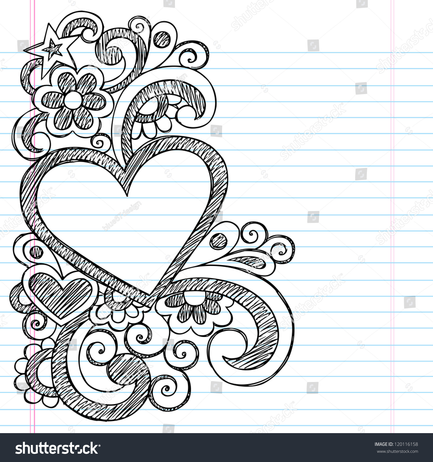 Heart Frame Border Back School Sketchy Stock Vector ...