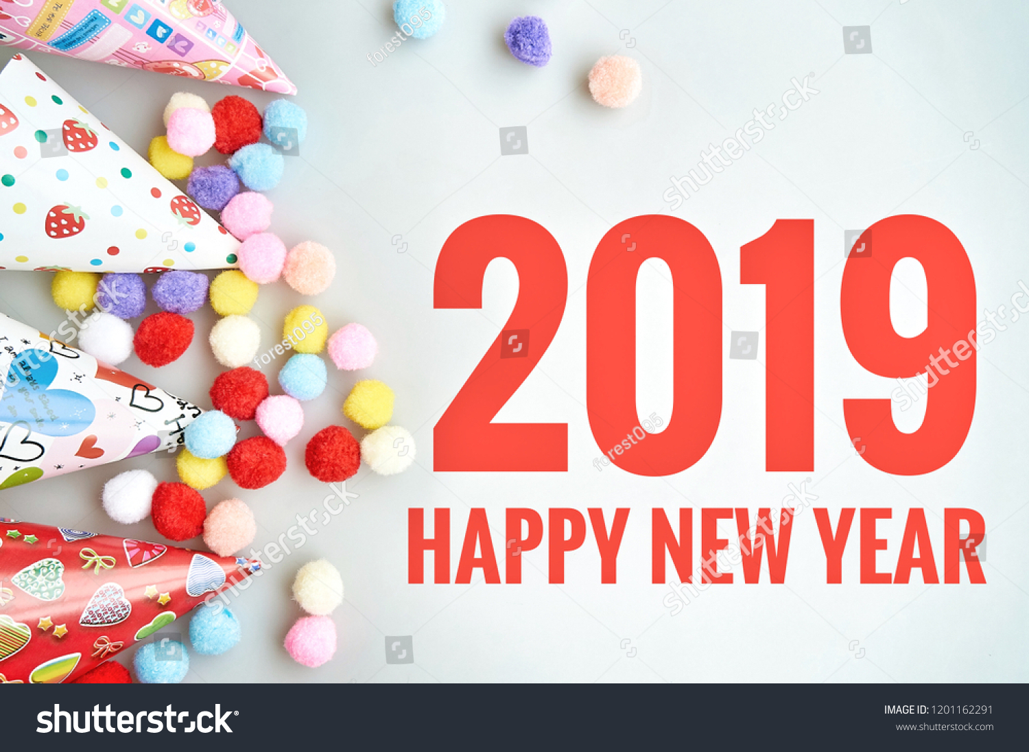 happy new year 2019 greeting card on gray background