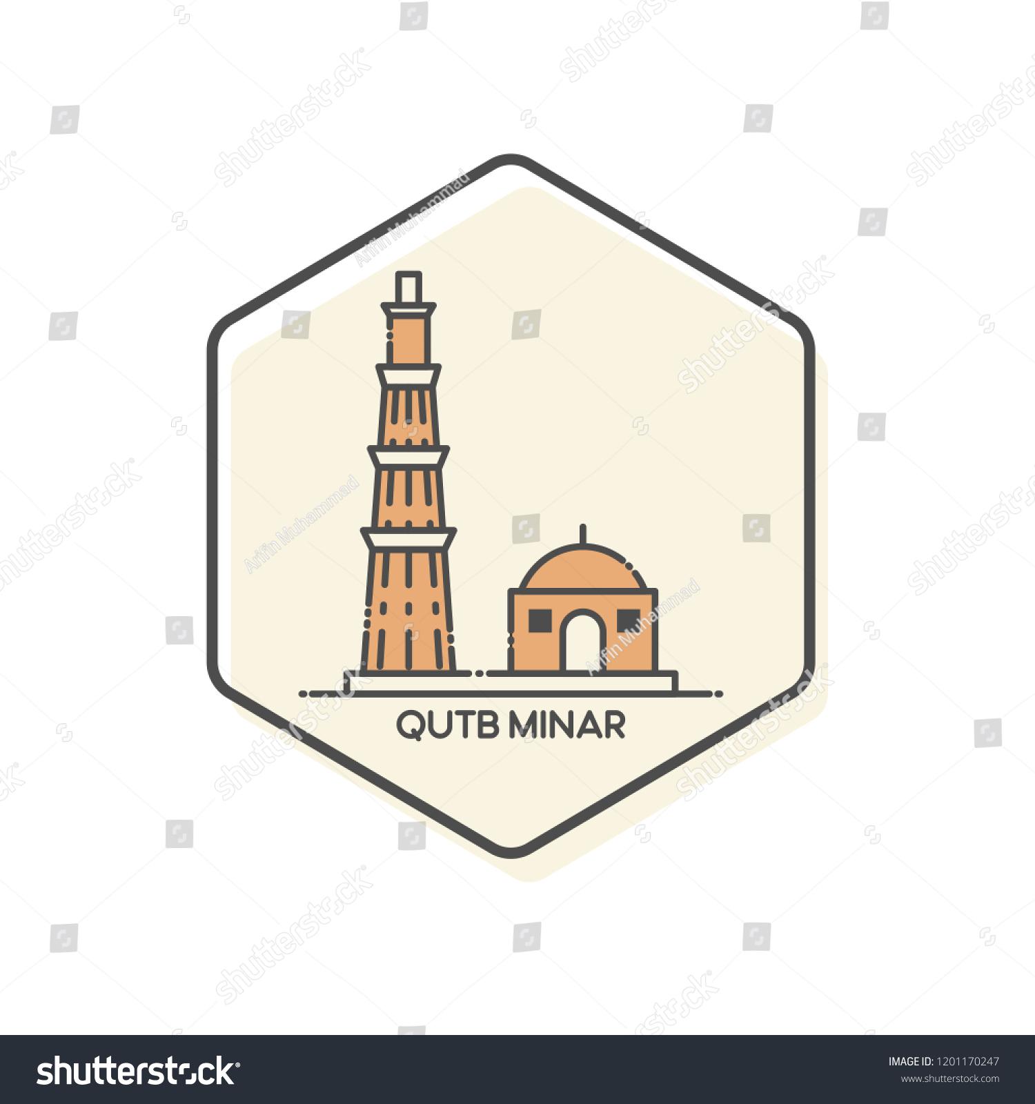 Qutb minar outline icon india