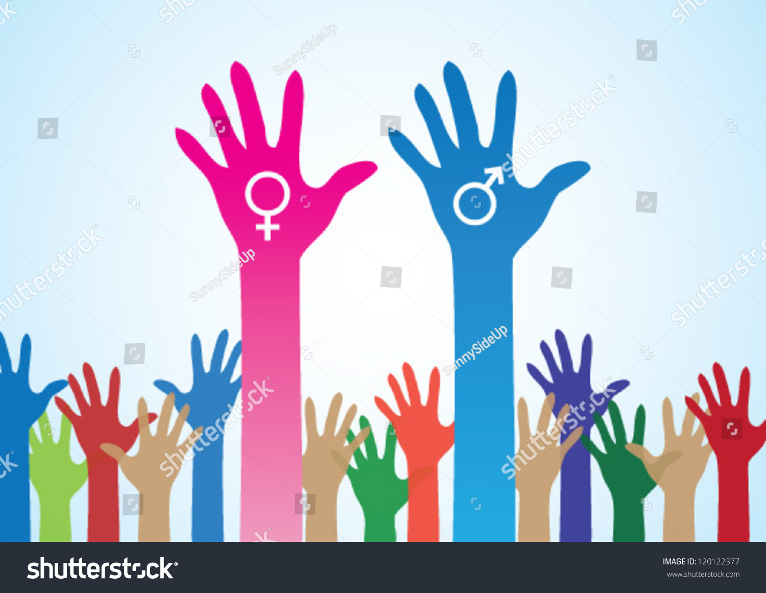 Colourful Hands Male Female Symbol Love Stock Vector -6475