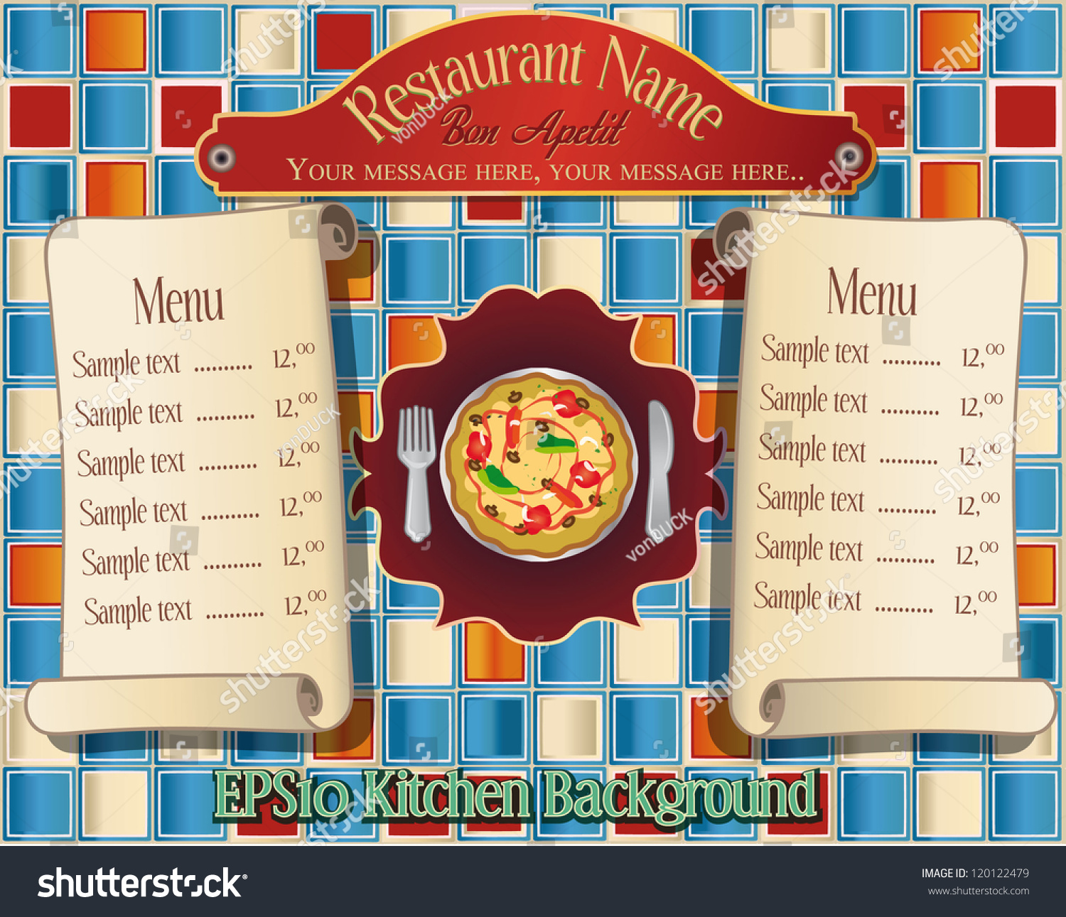 Restaurant Kitchen Illustration editable vector illustration pizza menu scrolls stock vector