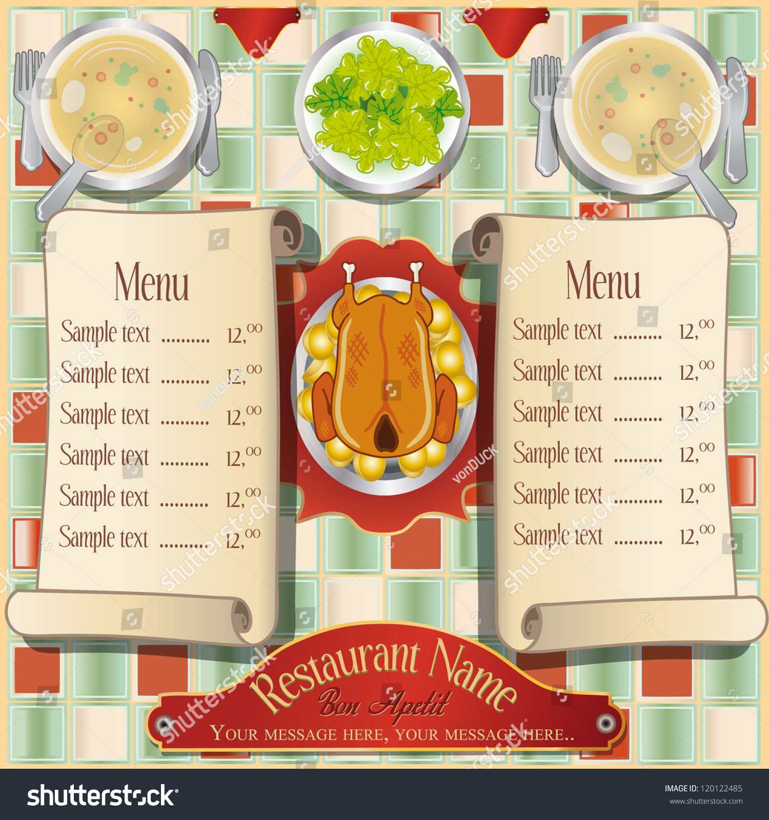 Restaurant Kitchen Illustration editable vector illustration chicken potatoes soup stock vector