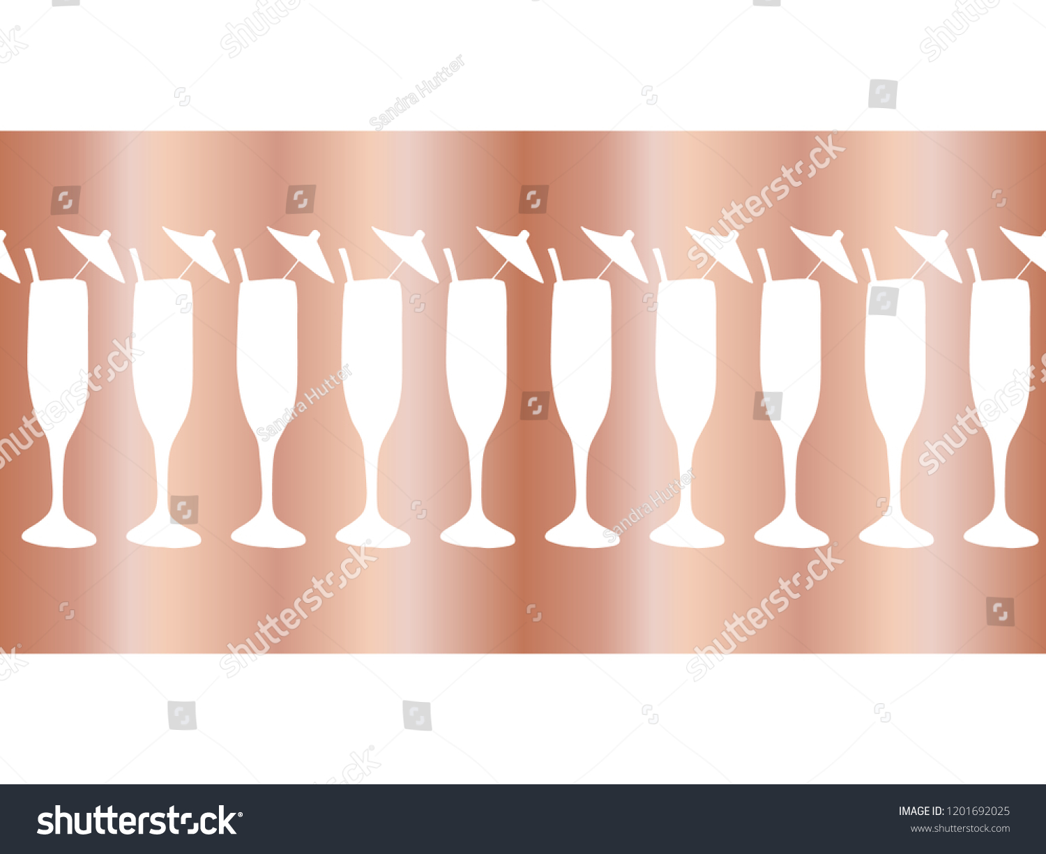 copper foil champagne flutes seamless vector pattern border cocktail glasses on rose gold background