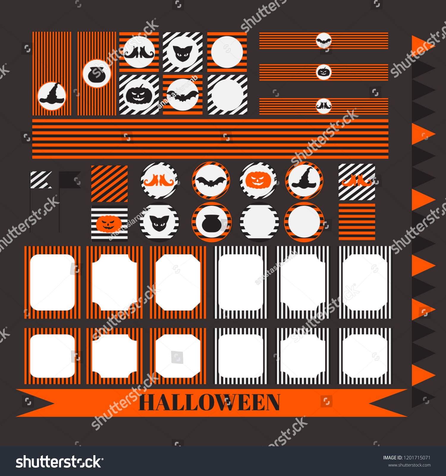 printable set halloween party elements templates stock vector