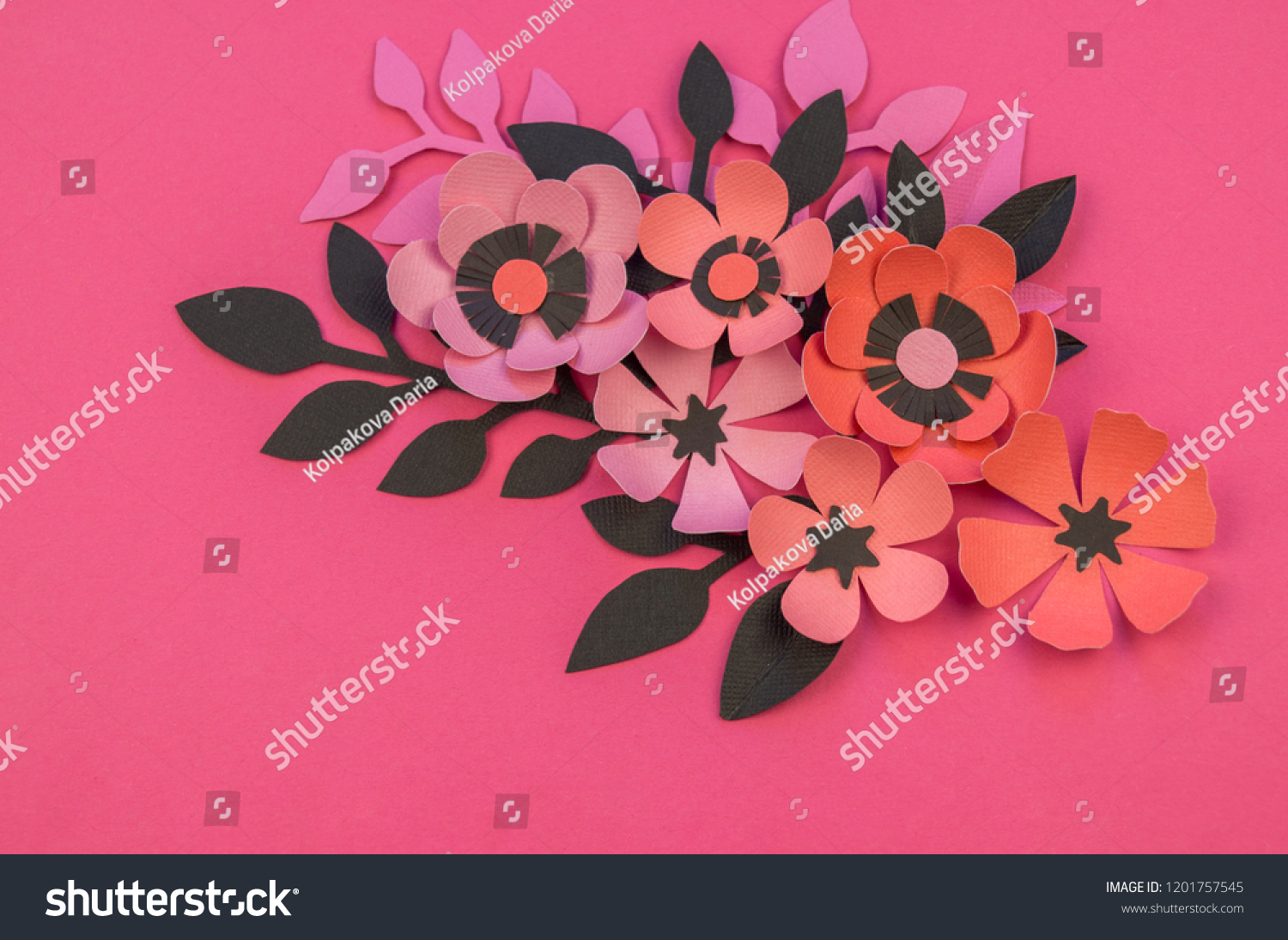 Flower Leaves Made Paper On Pink Stock Photo Edit Now 1201757545