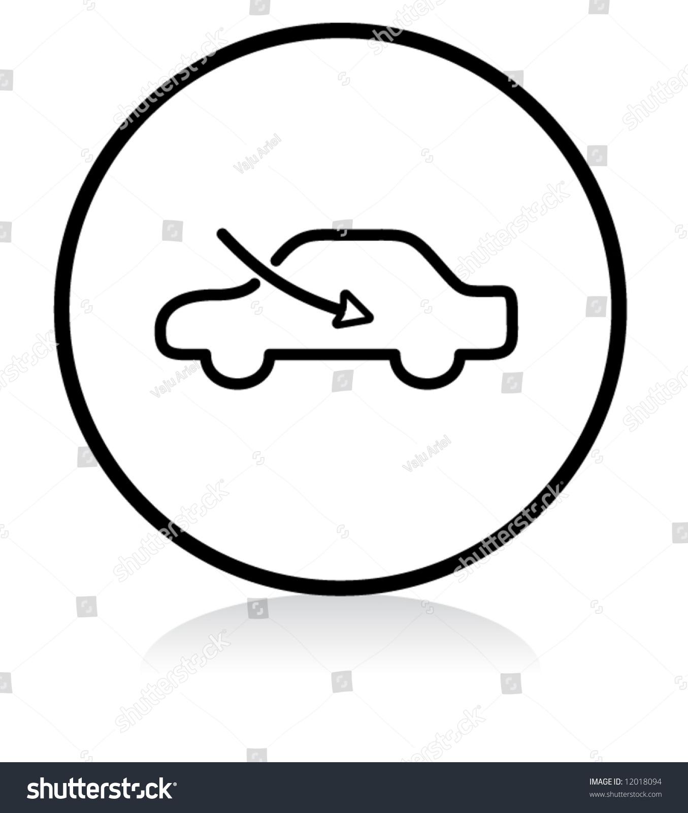 Car Airflow Button Symbol Bw Version Stock Vector 12018094