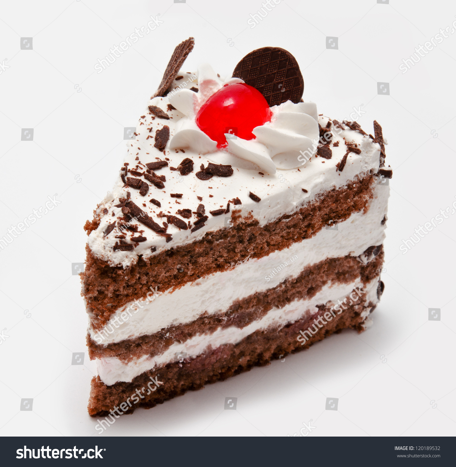 Piece Chocolate Cake Cherry Isolated On Stock Photo
