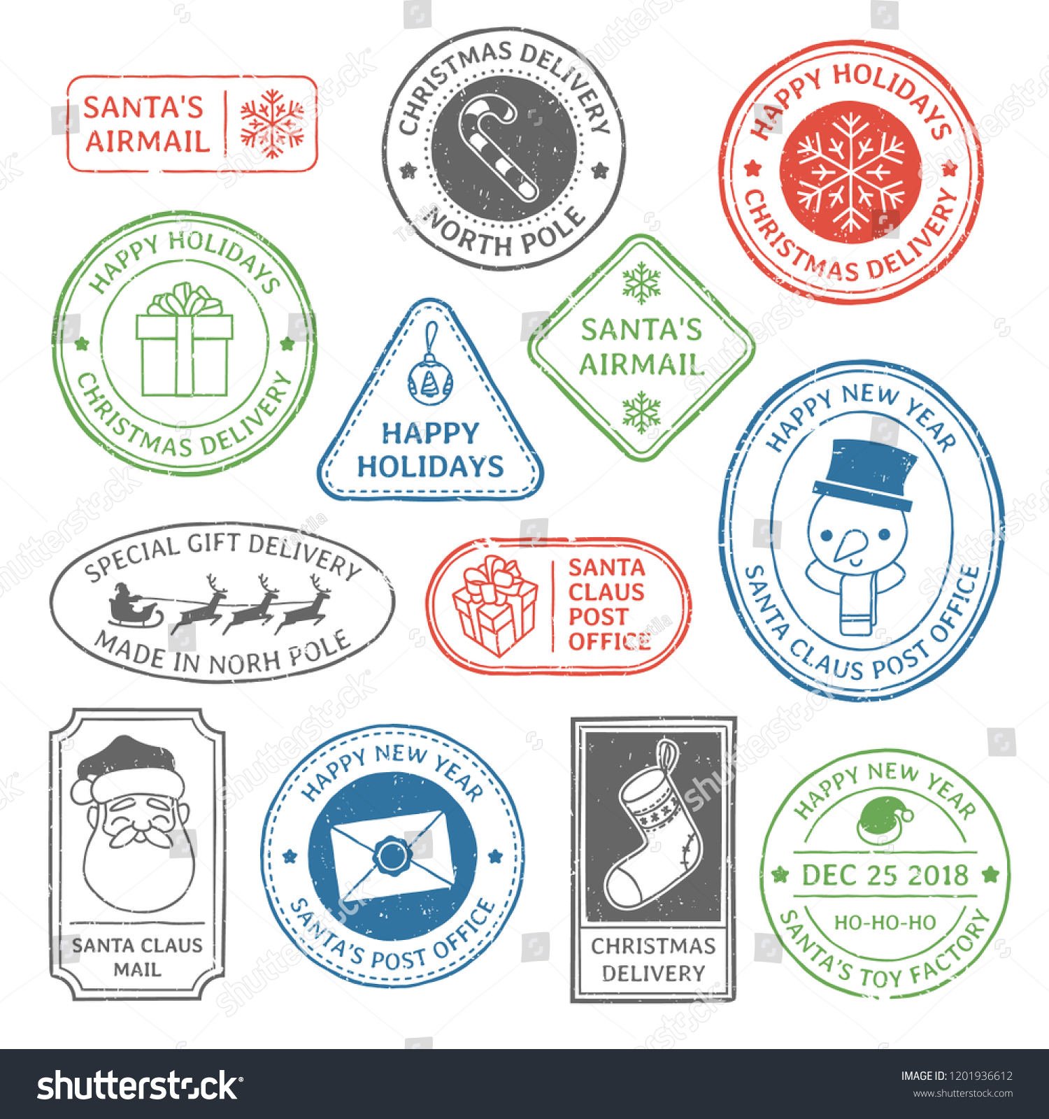 Santa Claus Post Stamp Christmas Mail Letter Stamps North Pole Postmark And Postage Mark