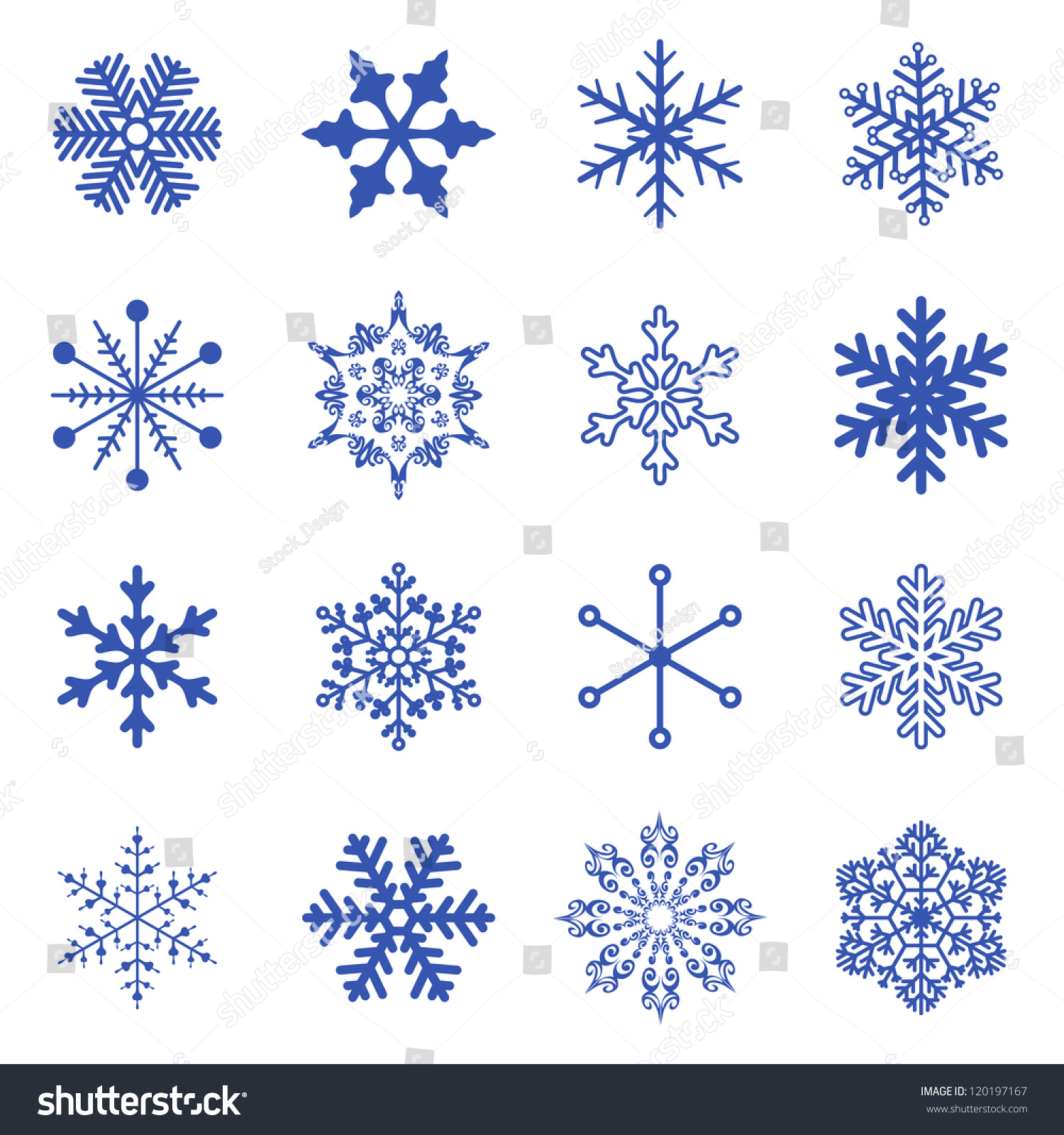 Vector Set Simple Snowflakes Stock Vector 120197167