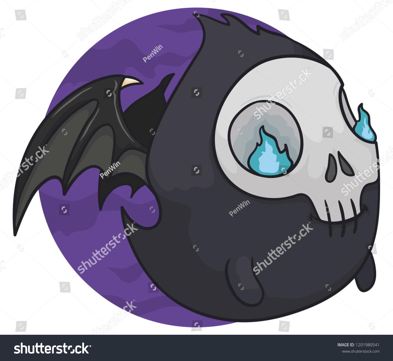 cute fat ghost skull head willowisp stock vector royalty free rh shutterstock com