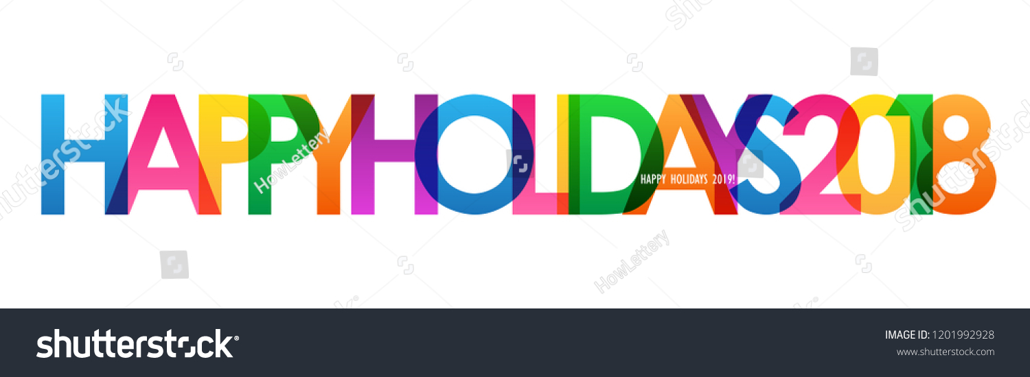 happy holidays 2018 colorful letters banner のベクター画像素材