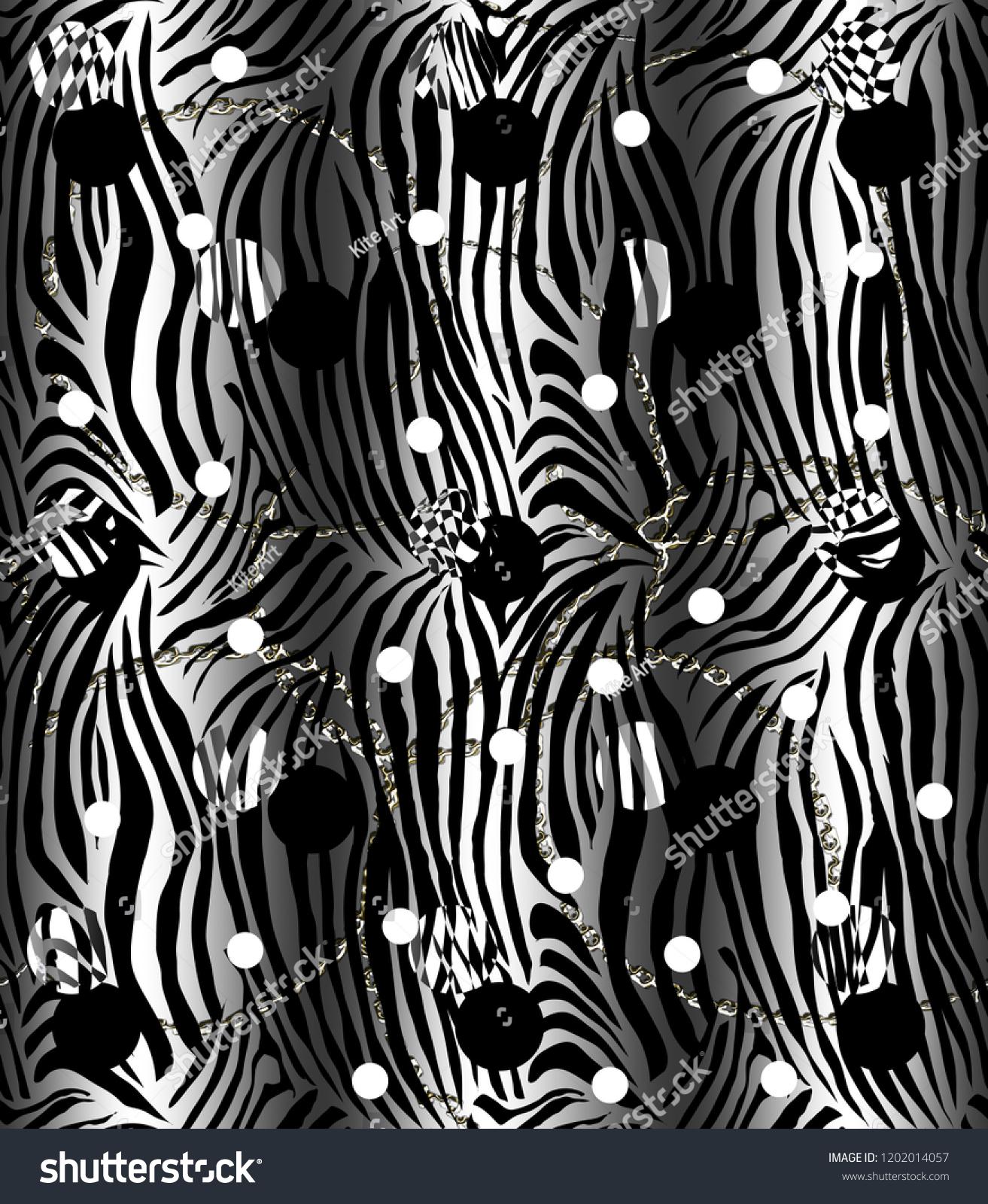 Zebra Print Black Backgroundseamless Patternanimal Print