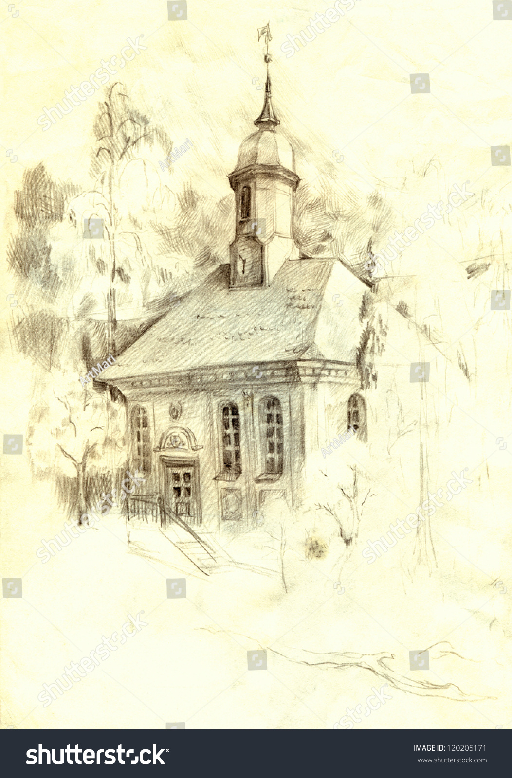 Architectural pencil sketch the old church of spreading trees of the park