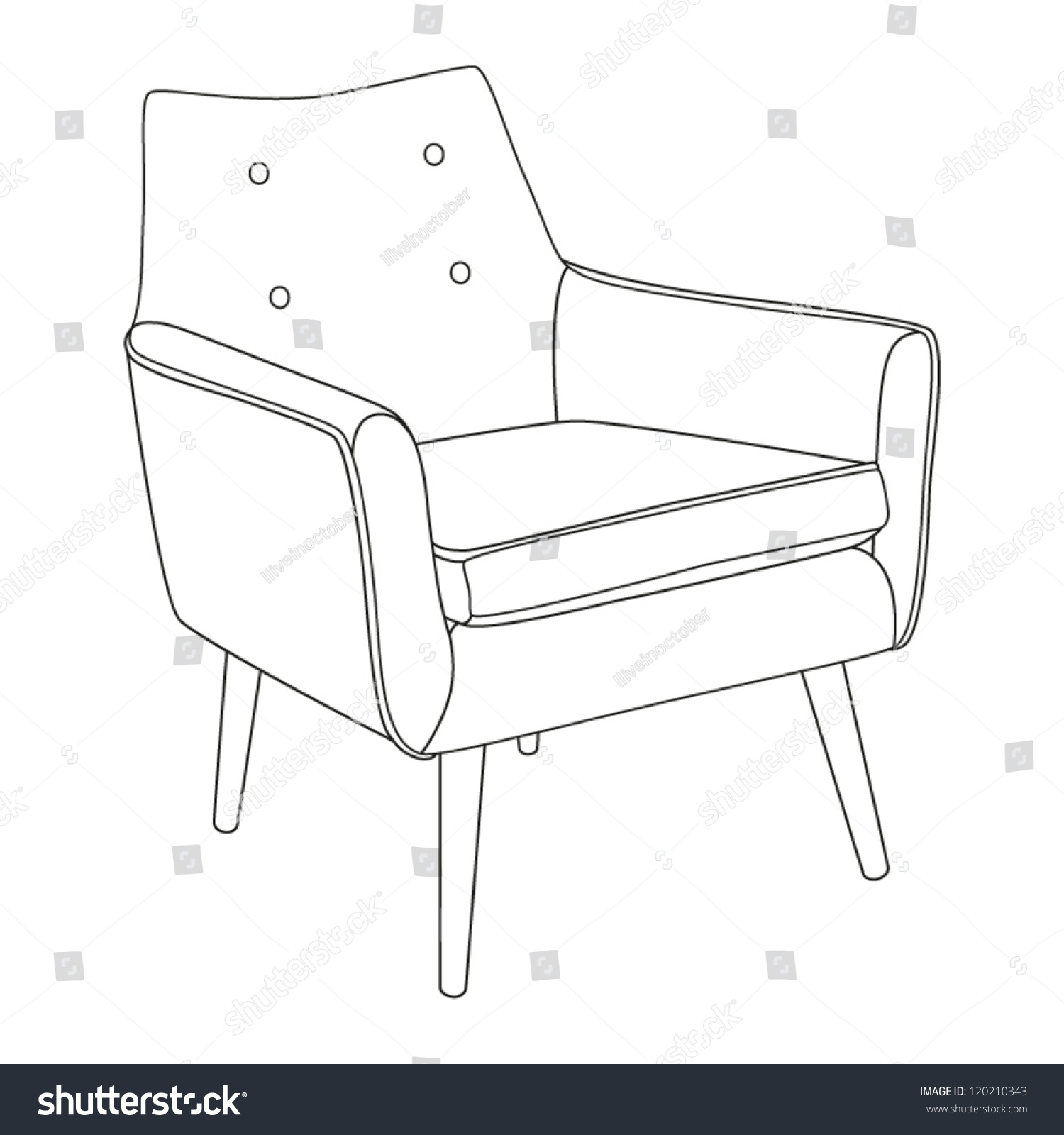 Classic Chair Outline Chair Icon Vector Stock Vector