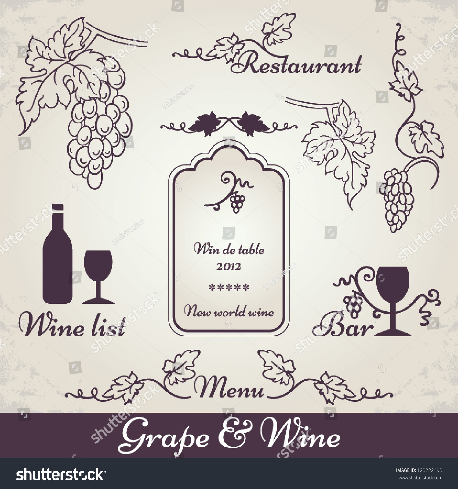 Wine grape decoration vintage vine vector stock