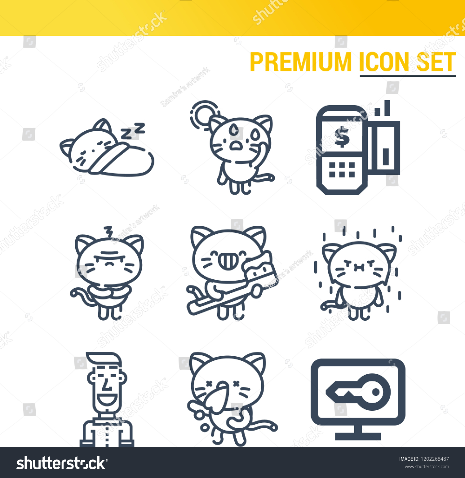 Simple Set 9 Outline Icons On Stock Vector (Royalty Free) 1202268487
