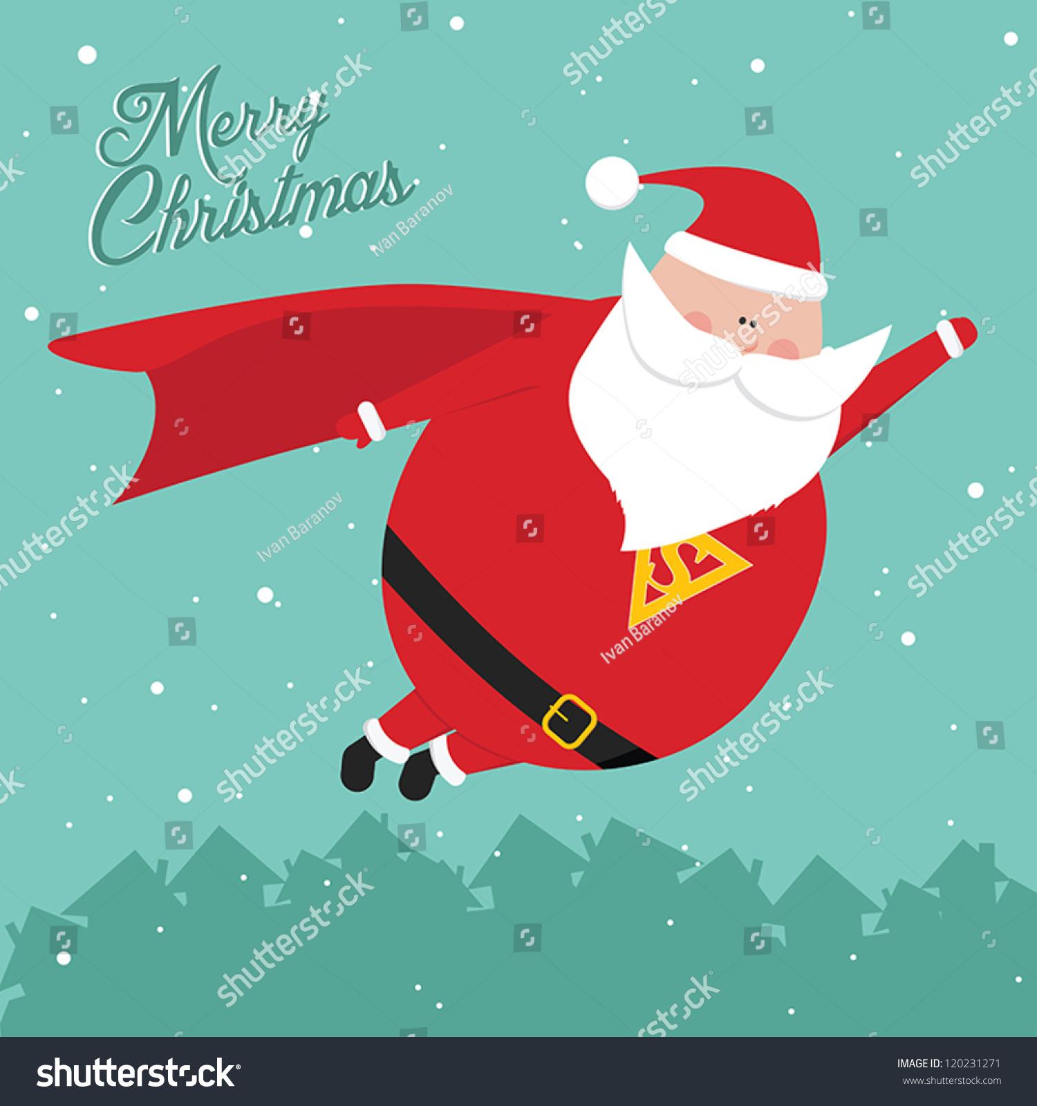 funny retro vintage merry christmas santaman postcard stock vector illustration 120231271