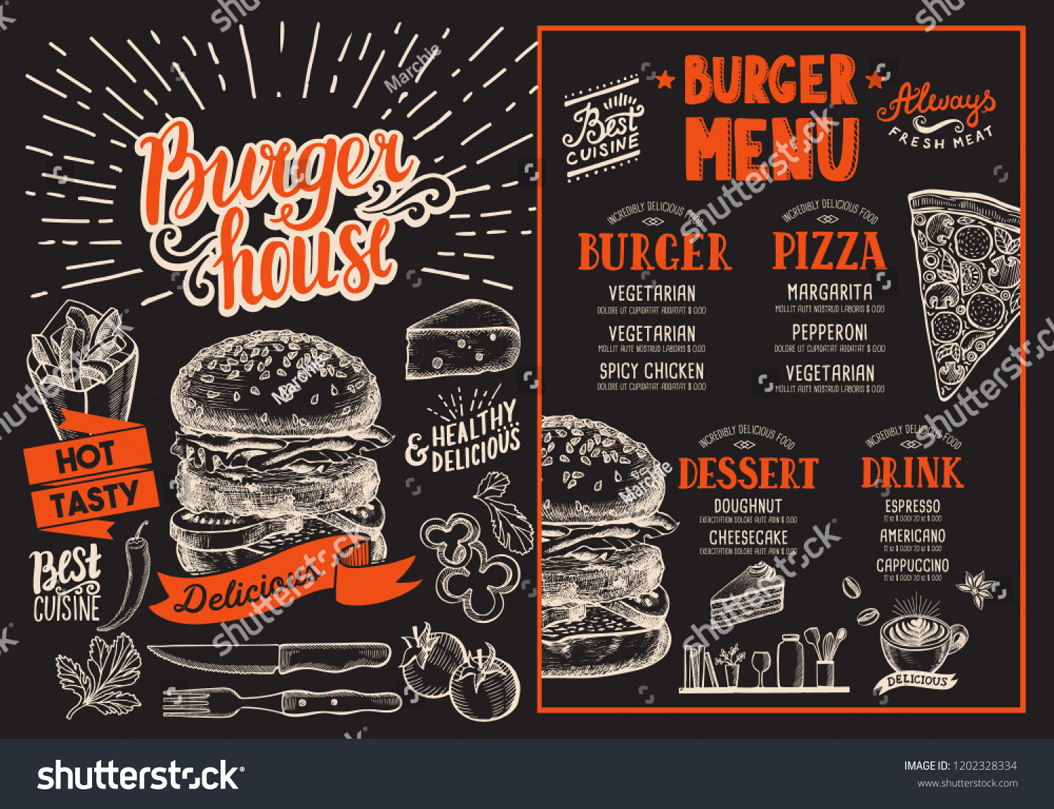 Burger Restaurant Menu Vector Food Flyer Stock Vector Royalty Free 1202328334