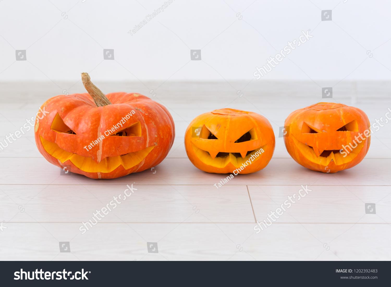 Halloween Pumpkin Heads Jack Lantern Scary Stock Photo (Edit