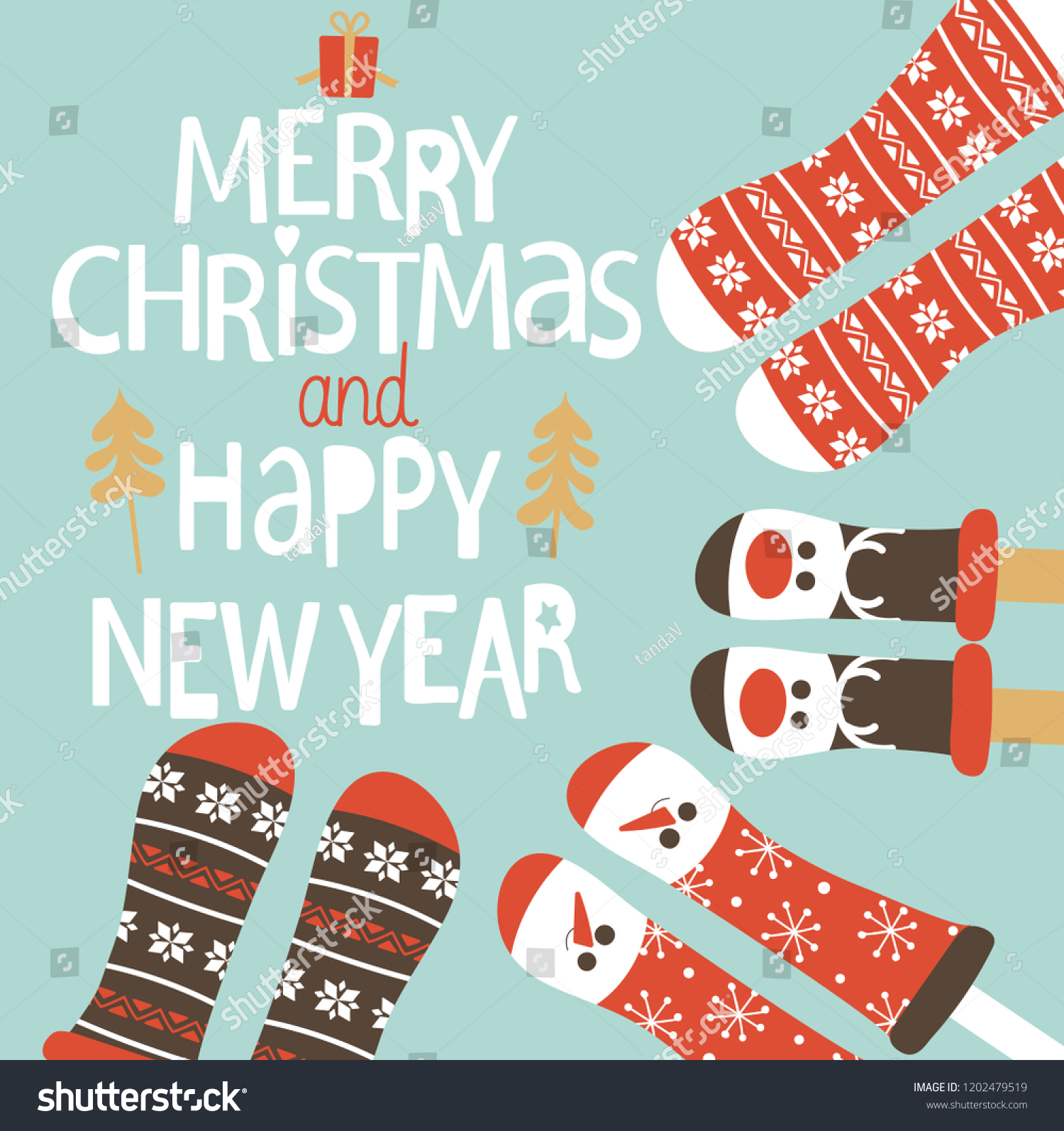 happy new year and merry christmas greeting card family feet in christmas socks round the