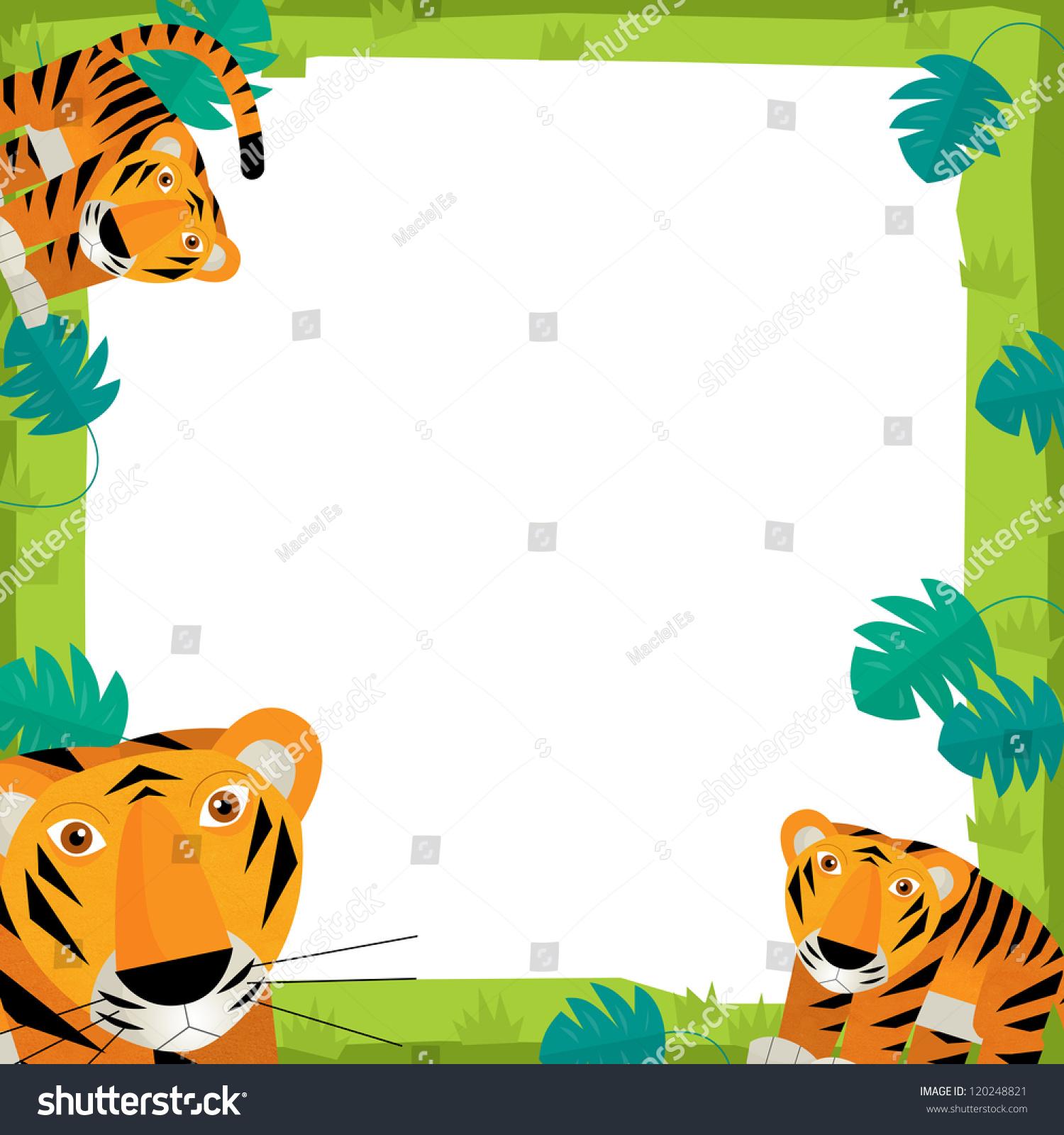 Safari Frame Animals Illustration Children Stock Illustration ...