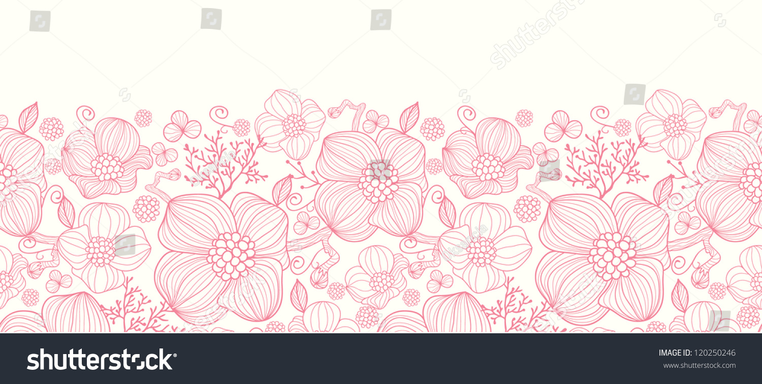 Red Flower Line Drawing : Red line art flowers horizontal seamless pattern border
