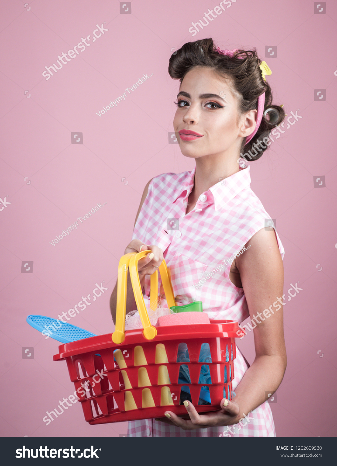 Retro Woman Go Shopping Full Cart Stock Photo Edit Now 1202609530