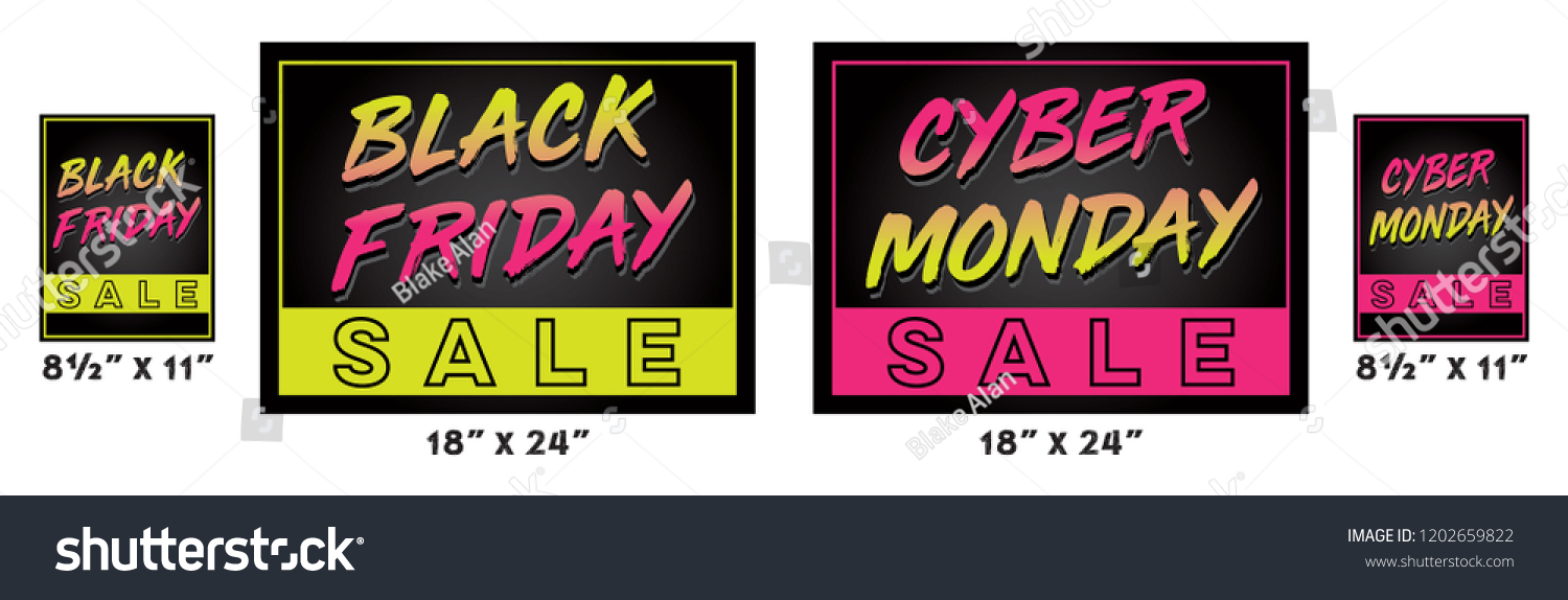 Black Friday Cyber Monday Neon Sale Stock Vector Royalty Free 1202659822